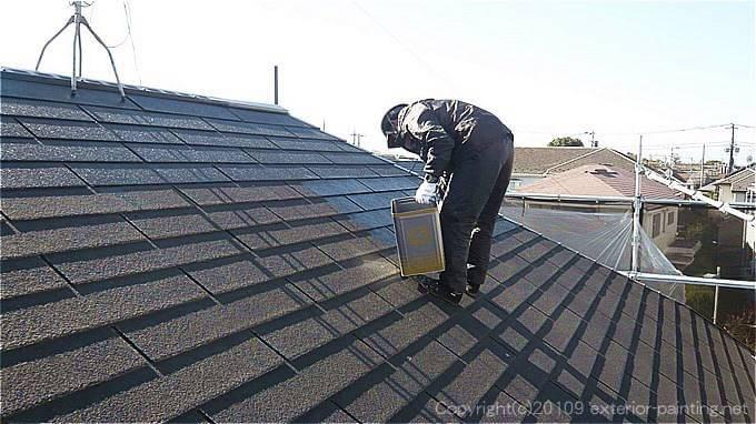 6寸勾配の屋根の塗装