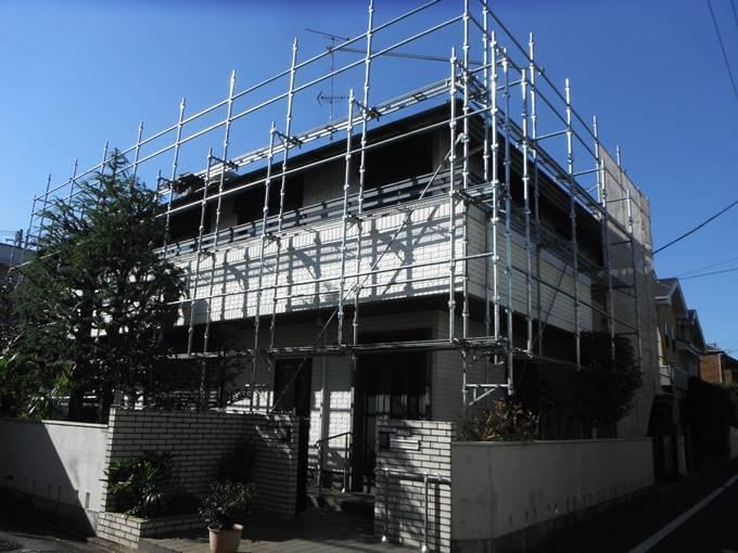 外壁塗装が終了後して撤去前の足場