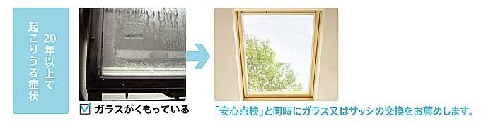 天窓ガラスの劣化