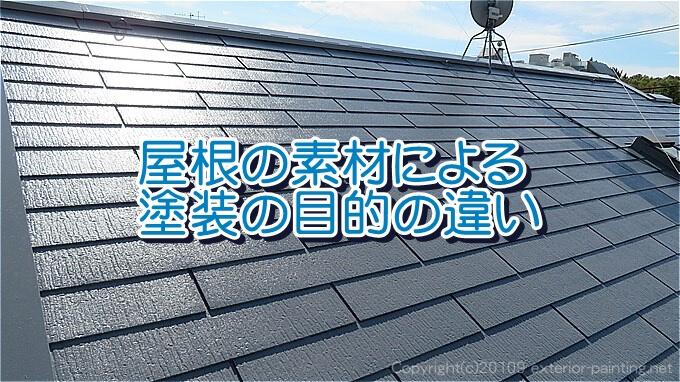 屋根の素材による塗装の目的の違い