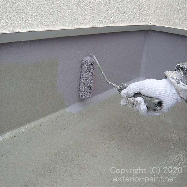 立ち上がり部分のFRP防水塗り替えトップコート塗装