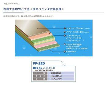 改修工法RPV-1工法(住宅ベランダ改修仕様) 三井化学産資株式会社 FRP防水