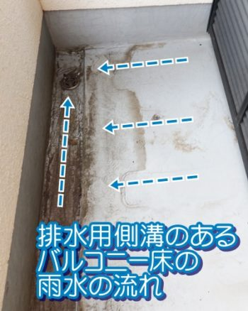 排水用側溝のあるバルコニー床の雨水の流れ