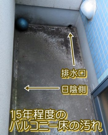 日陰側と排水口以外にも汚れが広がっていきます