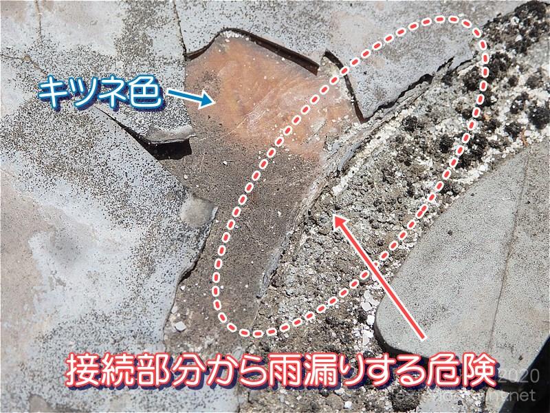 剥がれた接続部分から雨漏りする危険