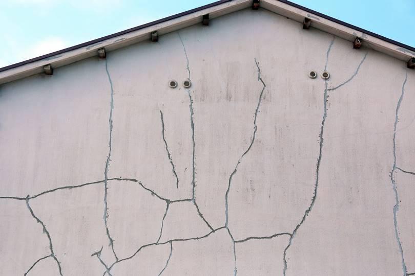 外壁のヒビ割れた家