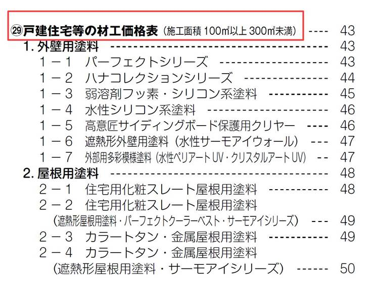 日本ペイント 設計価格表 戸建住宅等の材工価格表(施工面積100㎡以上300㎡未満)