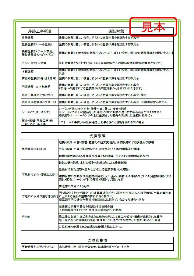 保証書サンプル画像【ウラ】